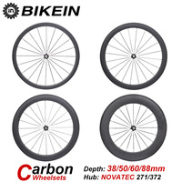 BIKEIN Super Light 3k Carbon 700C Road Bike Wheels Clincher Tubular 38mm 50mm 60mm 88mm Depth