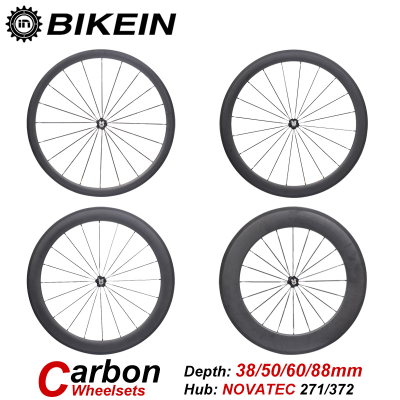 купить BIKEIN Ultralight 3k Carbon 700C Road Bike Wheels Clincher Tubular 38mm 50mm 60mm 88mm Depth Rim Wheelset Cycling Bicycle Parts недорого