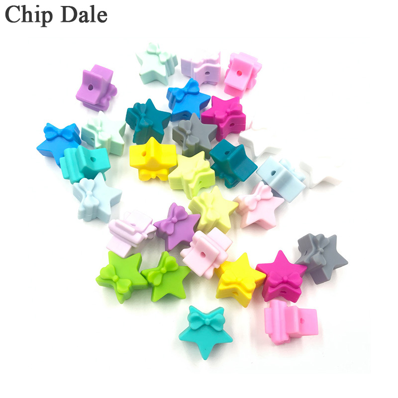 Chip Dale 10Pcs Star And Bowknot Silicone Beads Baby Teethers Food Grade Baby Teething Toys For DIY Pacifier Chain Necklace