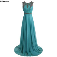 Turquoise Evening Dress Chiffon Mother Of The Bride Dresses Crystal Evening Dresses Long Formal Party Dresses