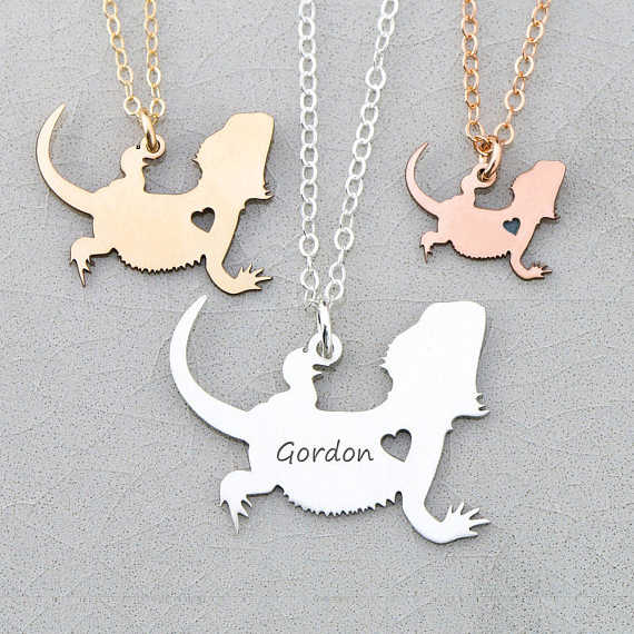 Personalized Bearded Dragon Charm Lizard Necklace Dragon Jewelry 3 Colors Available Accept Drop Shipping YP6047