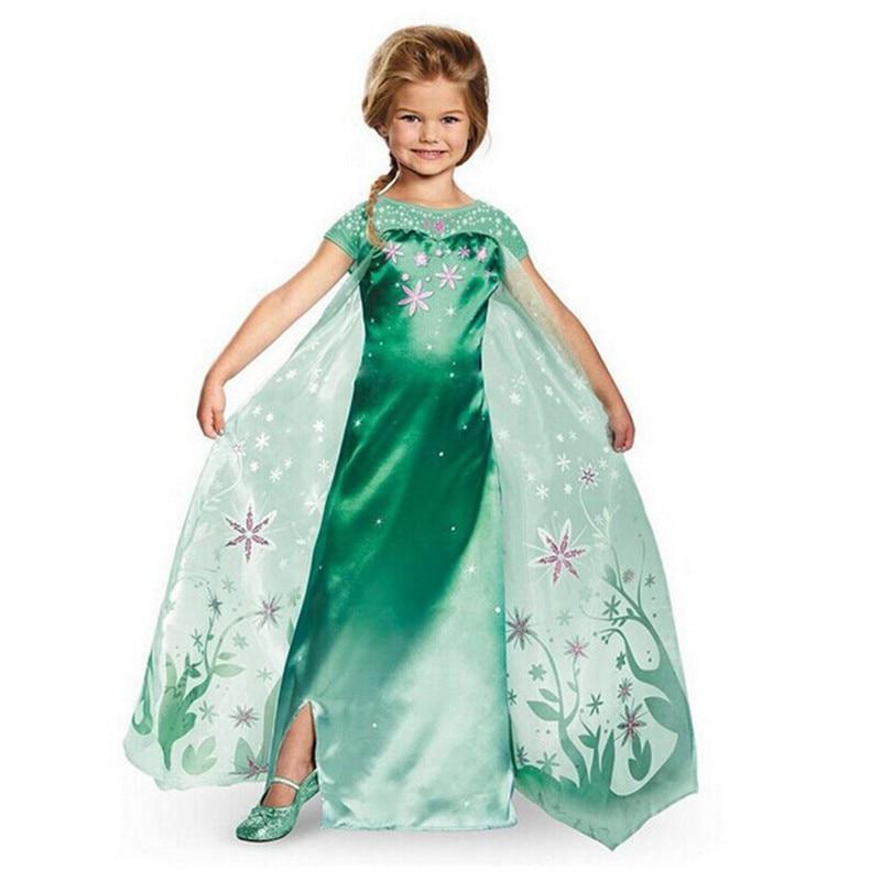 New Cute Lolita Style Green Anna Dress Girl Anna Elsa Costume Character Cosplay Clothes Flower Print Girl Princess Dress Tail