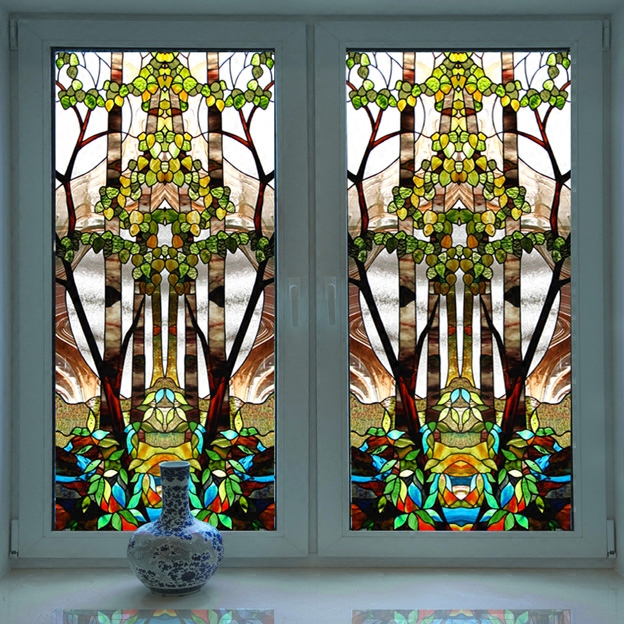 Church colored frosted window film decorative stained glass sticker self adhesive or static cling can do