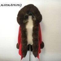 Real Natural Fox Collar Coat Natural Raccoon Fur Lining Winter Jacket Long Hooded Parkas FREE SHIPPING