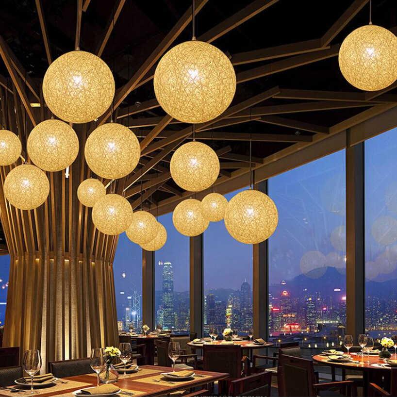Modern Colorful Ma Anyaman Rotan Bola Liontin Cahaya untuk Natal Dekorasi Pesta Ruang Makan Bar E27 Pencahayaan Gantung