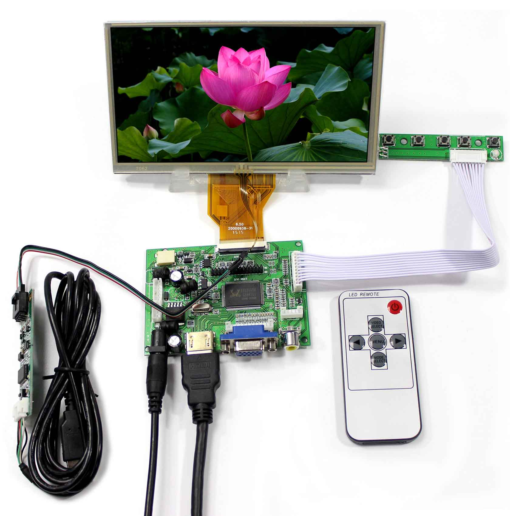 HDMI VGA 2AV LCD Controller Board+6.5inch AT065TN14 800x480 LCD Screen With Touch Panel 5inch lcd screen with capacitive touch panel 800x480 40pin lcd display