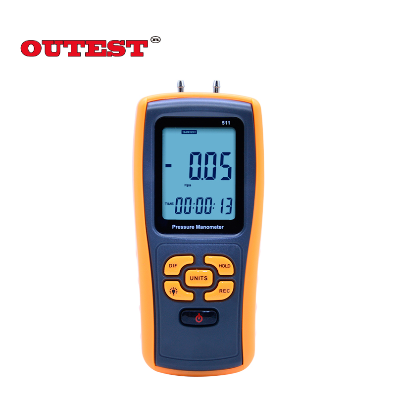 OUTEST GM511 50KPa Digital LCD display Pressure manometer yellow differential manometer pressure gauge Response time 0.5 seconds as510 digital mini manometer with manometer digital air pressure differential pressure meter vacuum pressure gauge meter