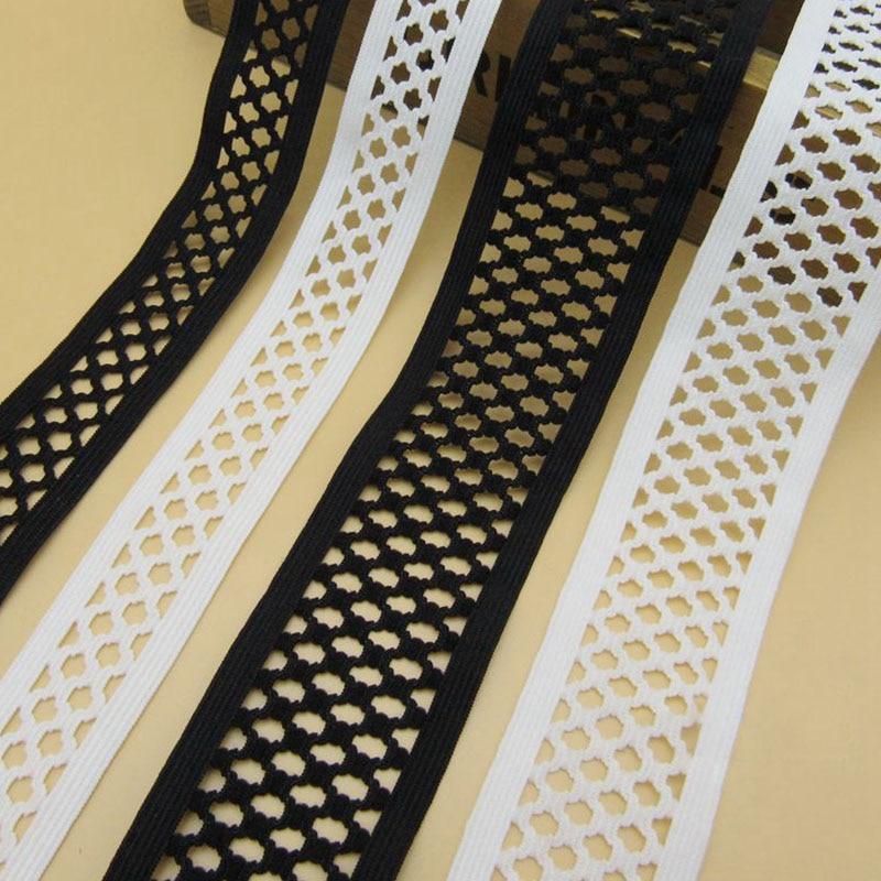 3meters/lot Soft Stretchy Bands Net Shape Hollow  Black White Elastic Webbingfor Garment Shoulder Straps Underwear Belt