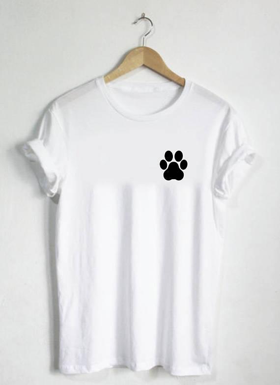 Cămașă cu imprimeu Paw - Cămașă Paw Cămașă unisex sau cămașă Womans pentru bărbați Gât cadou Câine Catelus pisoi Kitten Mână drăguță Cămașă simplă pentru câine -B520