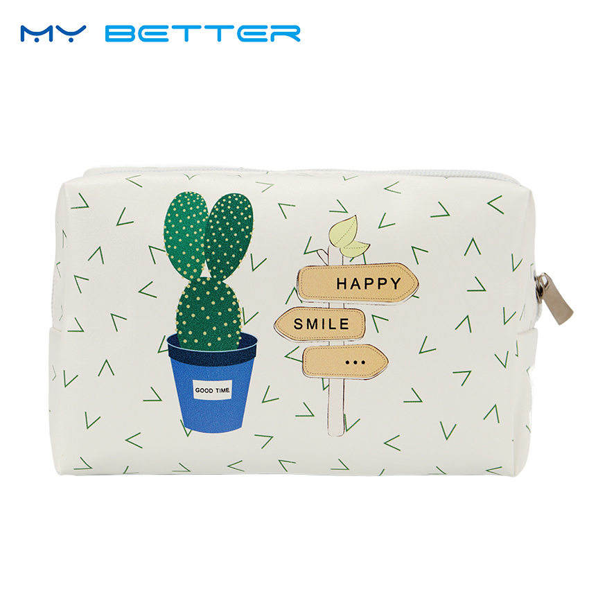 Korean Style Toiletry Bags Travel PU Leather Cosmetic Bag Women Zipper Makeup Bag High Capacity Beauty Storage Wash Bag цена 2017