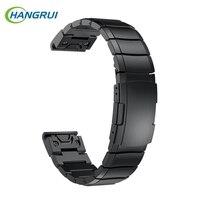Hangrui For Garmin Fenix 5 Straps Replacement Stainless Steel Wrist Band Bracelet Metal Watch Straps Forerunner