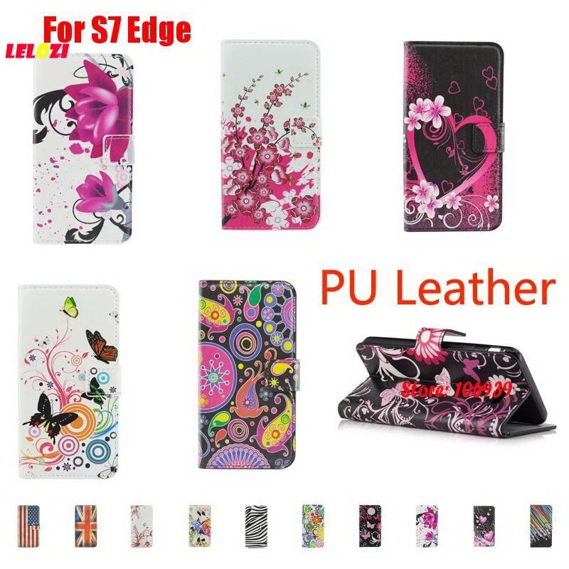 LELOZI Painted PU Leather Wallet Women Wallt Case Fundas Cubierta For Samsung Galaxy S7 Edge S7Edge SM G935F SM-G935F Butterfly