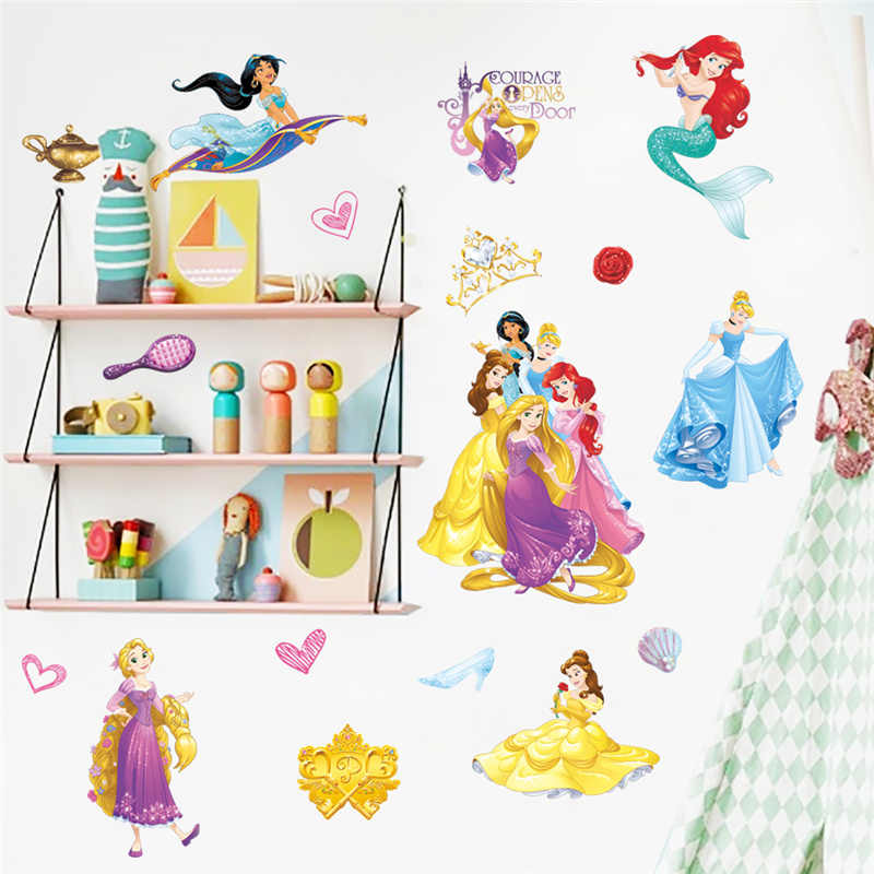 Beautiful Cinderalle Aurora Rapunzel Disney Princess Decorative Stickers Kids Wall Decals Poster Home Decoration For Girl's Room