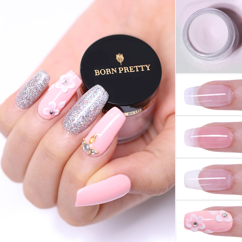 Born Pretty 10ml Pink White Clear Dipping Nail Art Powder For Nail Extension Builder Chrome Powder Pigment Dipping Nails Powder Acrylic Powders Liquids Aliexpress