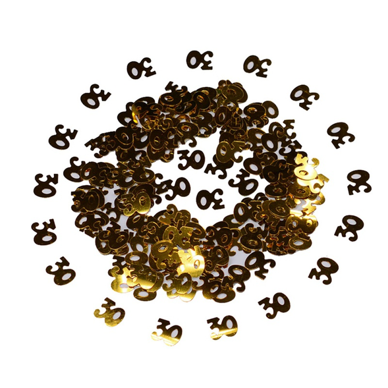 Gold Digital Figure 18 <font><b>30</b></font> 40 50 60 <font><b>Confetti</b></font> Happy Birthday Party Numbers Table Scatters Decorations Sprinkle Metallic image