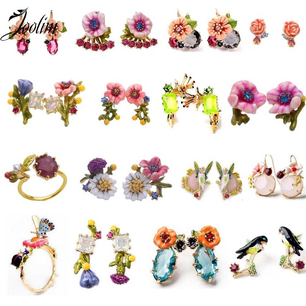 2017 Limited New Arrival Zinc Alloy Jewelry Sets Joolim Jewelry Wholesale/  Enamel Flower Bird Earring Ring Set Daily Bijoux