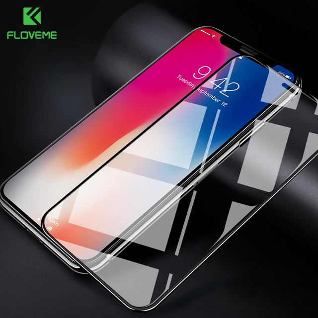 FLOVEME 9H Glass for iPhone X XR Screen Protector 3D Arc Curved Full Cover for iPhone XS XS MAX Tempered Glass Protective Film