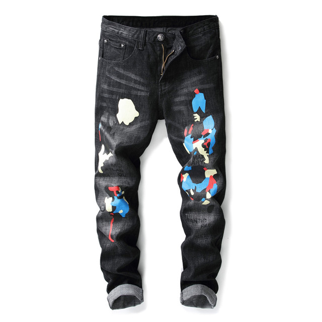 Men Fashion Brand Jeans Pants Slim Fit Straight Painted Denim Stunning Mens Patterned Pants