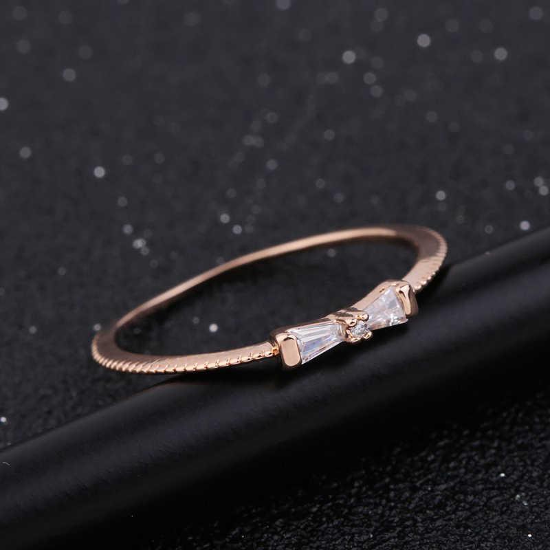 MIGGA délicate petite bague en cristal Zircon Bowknot couleur or Rose bague de mode pour les femmes filles