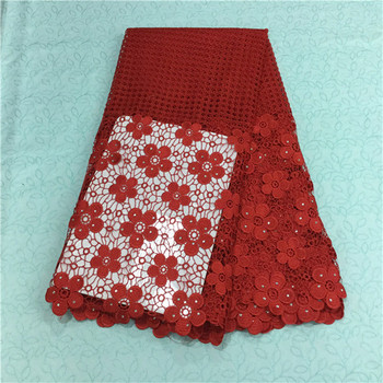 Gorgeous red african embroidery water soluble lace fabric with red flower guipure lace with beads for party BW15-9,5yards/pc