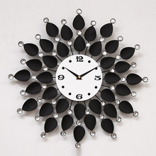 High quality new fashion modern ultra-silence extra-large big metal black flower wall clocks relogio de parede EMS free shipping