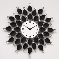 High Quality New Fashion Modern Ultra Silence Extra Large Big Metal Black Flower Wall Clocks Relogio