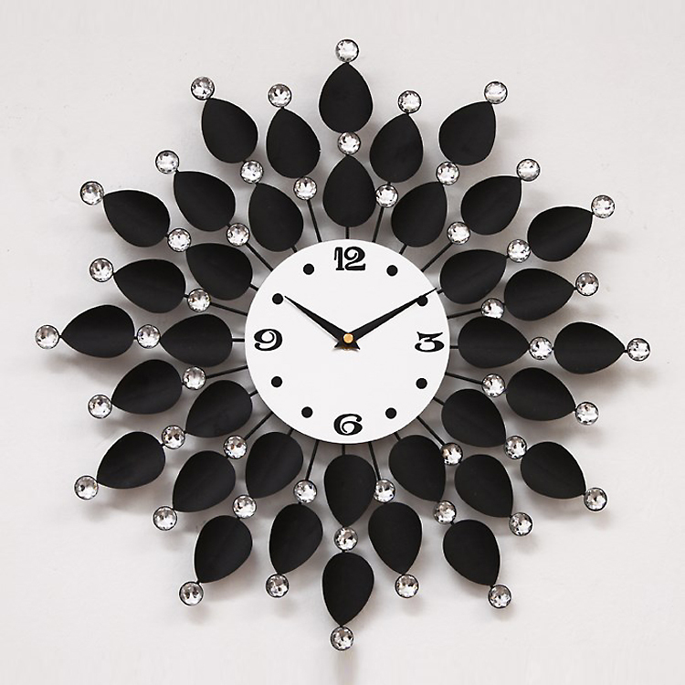 high quality new fashion modern ultra silence extra large big metal black flower wall - Designer Wall Clocks Online