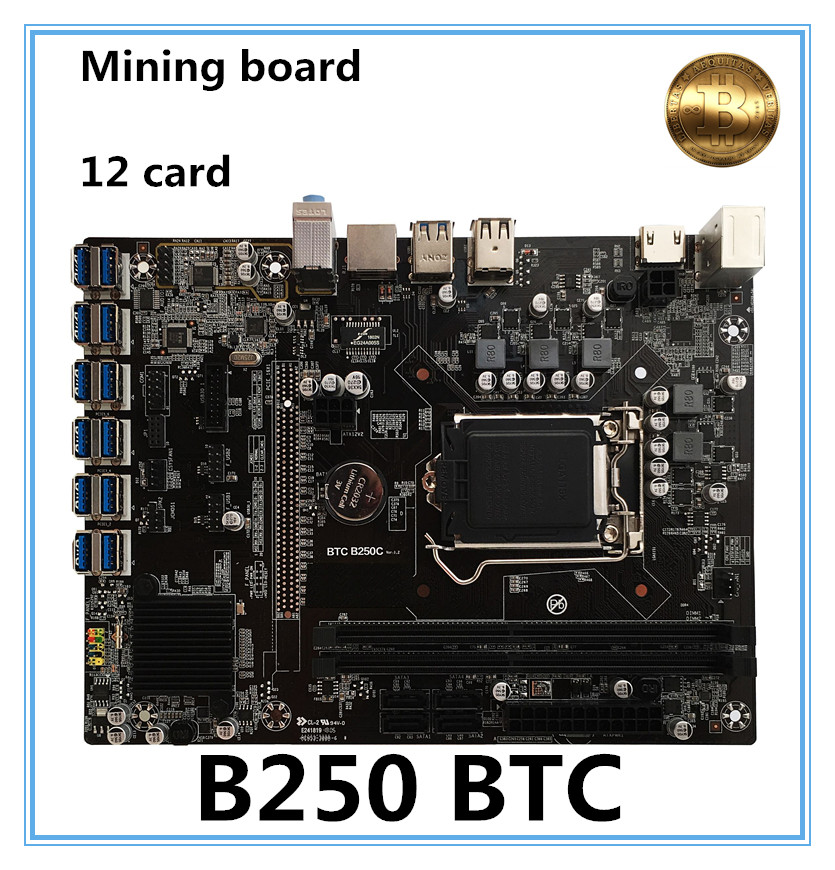 NEW B250 BTC Mainboard LGA1151 CPU DDR4 Memory 12 Card USB3.0 Expansion Adapter Desktop Motherboard