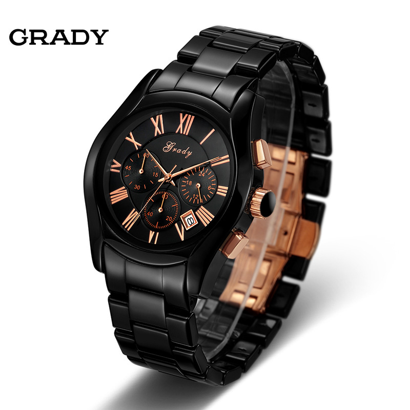 Grady factory wholesale fashion mens sports watch ceramic ...