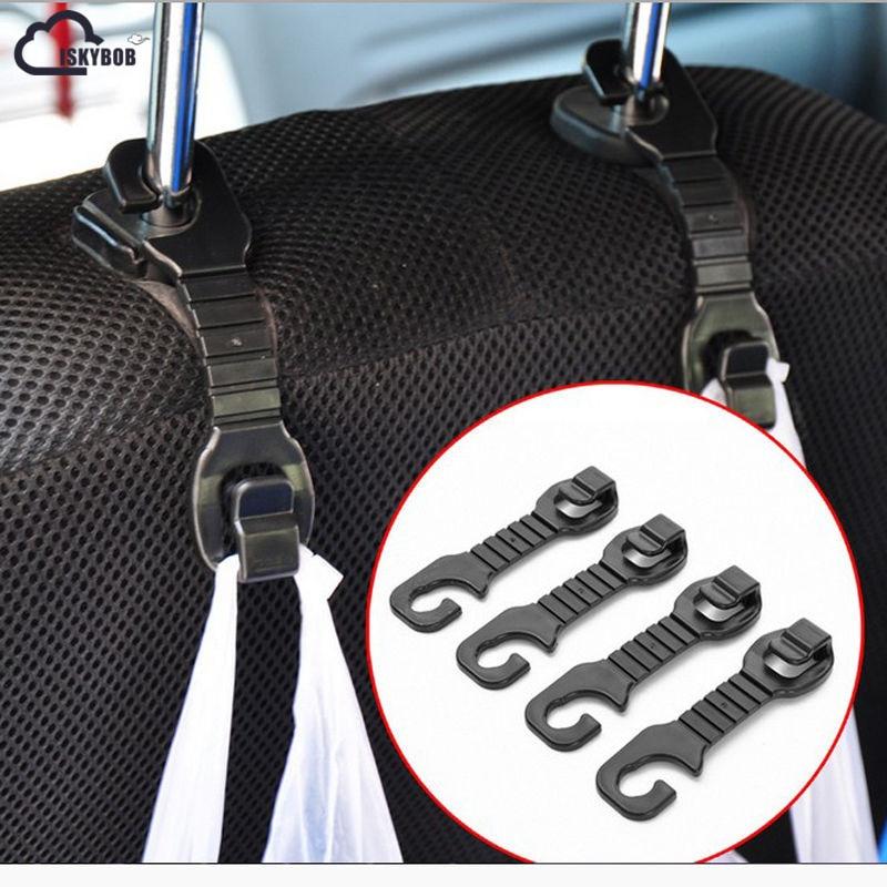 ISKYBOB  2 pcs Solid Car Back Seat Headrest Hanger Holder Hooks For Bag Purse Cloth GrocerISKYBOB  2 pcs Solid Car Back Seat Headrest Hanger Holder Hooks For Bag Purse Cloth Grocer