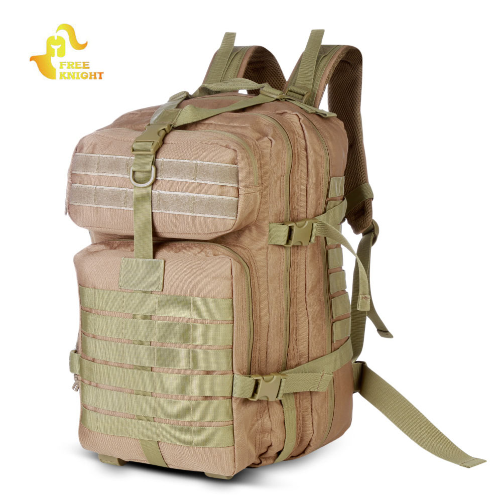 Free Knight 40L Tactical Military Backpack 900D Oxford Waterproof Assault Pack Military Backpack+Water Bottle Bag Outdoor Sports