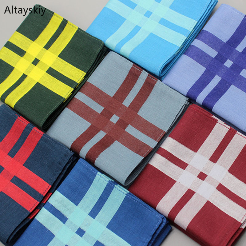 Handkerchiefs Women Cotton Plaid Retro High Quality Elegant Square Towel Pocket Womens Trendy Korean Style Ladies Simple Casual