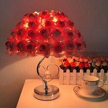 Современные свадебные декорации настольная лампа подарок на день Святого Валентина Свадьба спальня прикроватная настольная лампа креативный цветок розы светильник