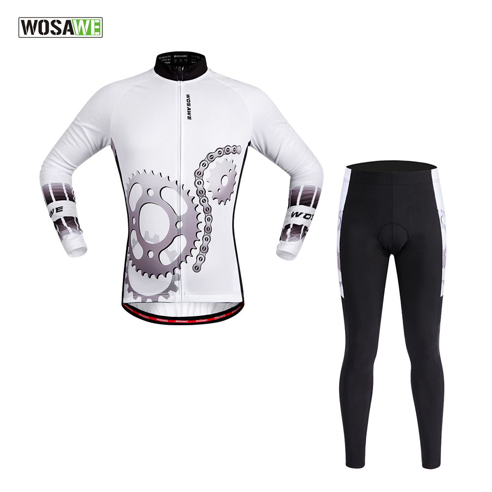 WOSAWE Men's Long Sleeve Cycling Jersey Sets Breathable Gel Padded MTB Tights Sportswear for Summer Cycling Clothings wosawe men compression tights cycling base layer running fitness workout gym clothes long johns sports pant jersey suit