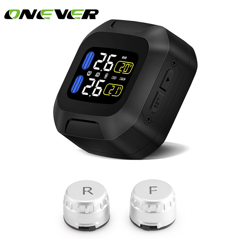 Onever Wireless Motorcycle TPMS Tire Pressure Monitor Monitoring System Motor Tyre car Auto Alarm 2 External