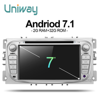 Uniway 2G + 32G android 7.1 de dvd del coche ford ford mondeo ford ford S-MAX C-MAX kuga 2008 2009 2010 2 din android car radio