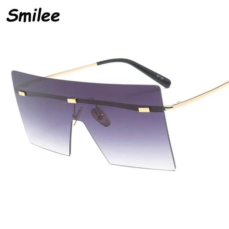 نظارات شمسية بنية كبيرة الحجم موضة 2019 نظارات ريترو كلاسيكية نظارات بدون إطار ماركة فاخرة نظارات oculos de sol feminino ظلال كبيرة