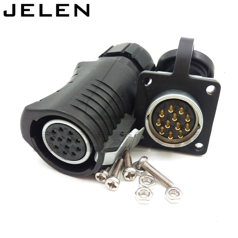 XHE20, IP67, 12 pin Waterproof Connector Plug (Female) & Socket (Male), Power Cable Automotive Connectors Male and female szjelen 1b connectors 10 pin female connectors plug phg 1b 310 cll medical connector power plug 10 pin