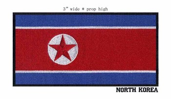 North Korea 3 wide embroidery flag patch for iron on patch/embroidered iron on appliques/A red star image