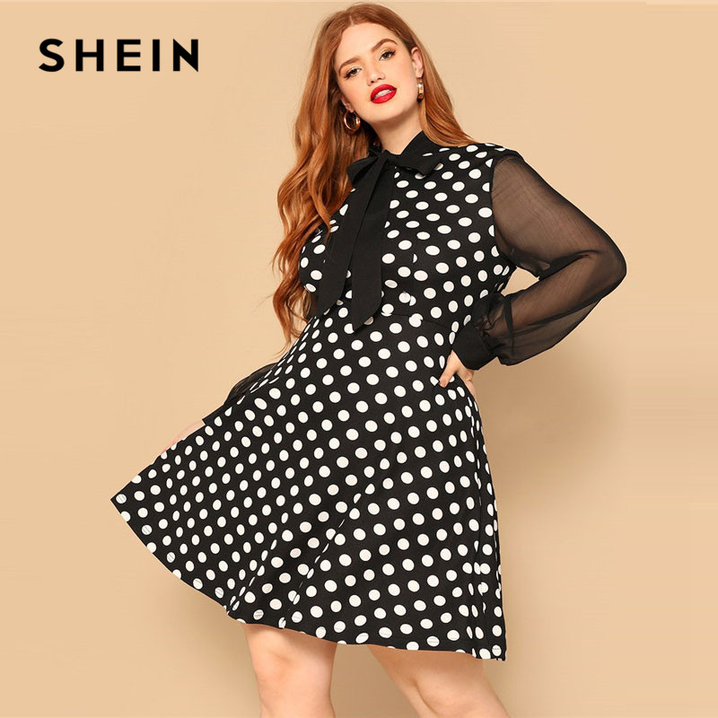 SHEIN Bow Tie Neck Sheer Sleeve Polka Dot  Plus Size Women Knee-Length Dress Bishop Sleeve High Waist A Line Party Dresses