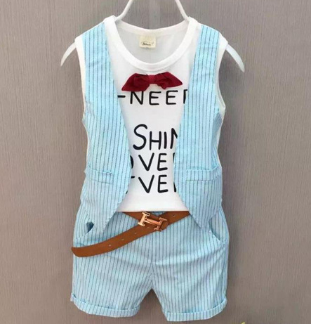 2017 new fashion baby clothing children boys sets cotten clothes bowknot  letter short + pants kids two-piece  coatbaby sets