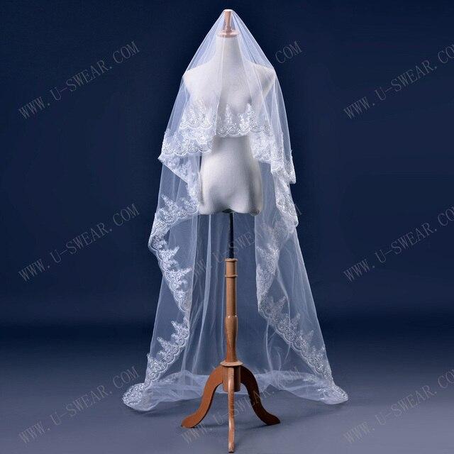 TS5003Wedding veil lace edge wedding veil 3 meters White wedding Bridal Short Fashion Bride Veil New  veu de noiva longo