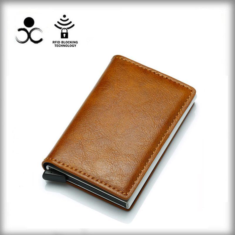 Мужские Алюминий бумажник с заднего кармана ID держатель для Карт RFID Блокировка мини-тонкий металлический кошелек автоматические всплывающ...