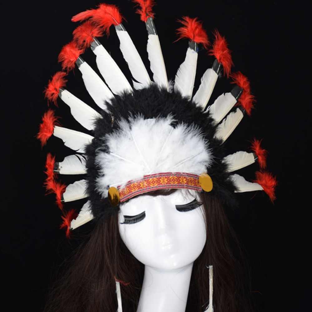 אלסטי הודי COS צבעוני נוצת כיסוי ראש סרט סמבה קרנבל תלבושות/מנהיג כיסוי ראש/יען שיער להקת אבזר