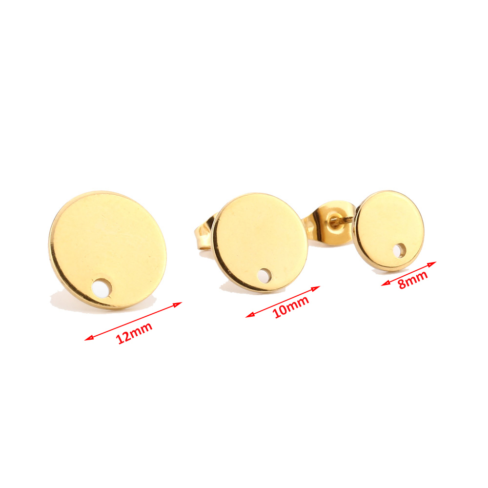Gold Tone Stainless Steel 8mm/10mm/12mm Blank Stud Earring With Earnuts Jewelry Making Supplies DIY Jewelry Findings Components