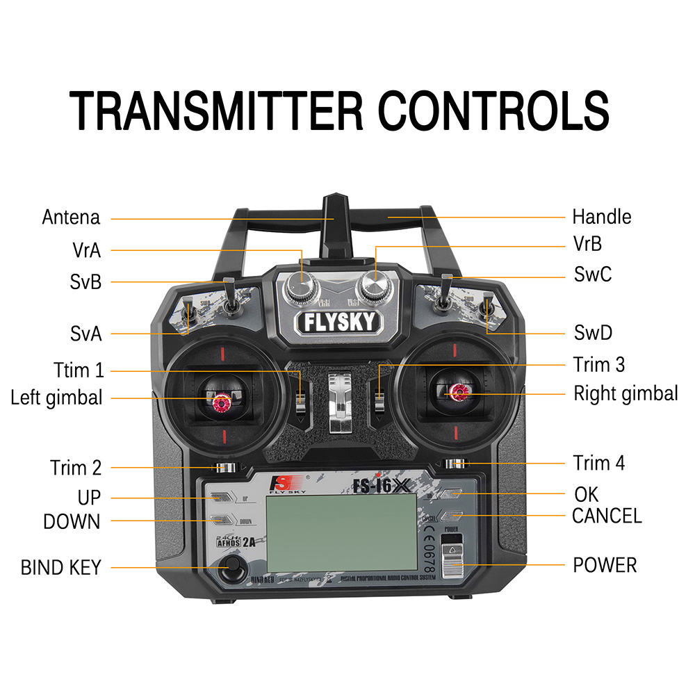 Image 4 - Fly Sky FS i6X 10CH 2.4GHz AFHDS 2A RC Transmitter With FS iA6B FS iA10B FS X6B FS A8S Receiver For Rc Airplane Drone Quadecopte-in Parts & Accessories from Toys & Hobbies