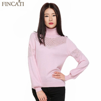 Fincati Women S Winter Autumn Hollow Out Cashmere Blend Sweater Turtleneck Lantern Sleeve Knitted Pullovers All