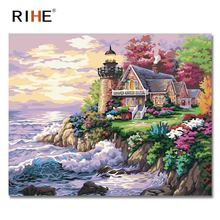 RIHE Seaside House Diy Painting By Numbers Abstract Sun Oil Painting On Canvas Cuadros Decoracion Acrylic Wall Picture For Room rihe seaside house diy painting by numbers abstract lighthouse oil painting on canvas cuadros decoracion acrylic wall picture