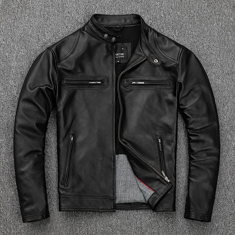 Free shipping classic casual style Plus size soft sheepskin Jackets men genuine Leather jacket motor biker Innrech Market.com