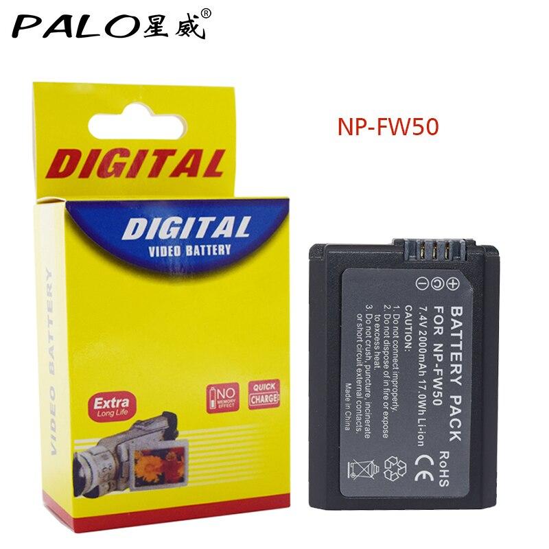 Palo 1 pieza 2000 mAh NP-FW50 NP FW50 para Sony NEX-7 NEX-5N NEX-5R NEX-F3 NEX-3D Alpha a5000 a6000 DSC-RX10 alfa 7 a7II Alpha 7R